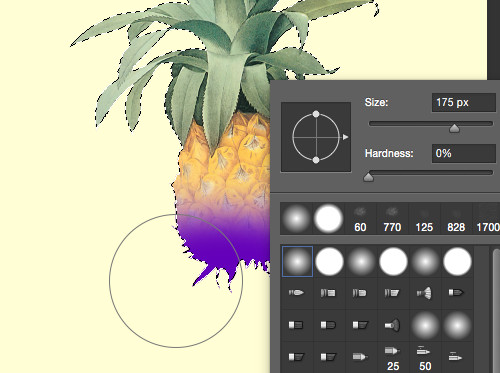 Graphic design in Adobe Photoshop with a selected area and open brush tool.