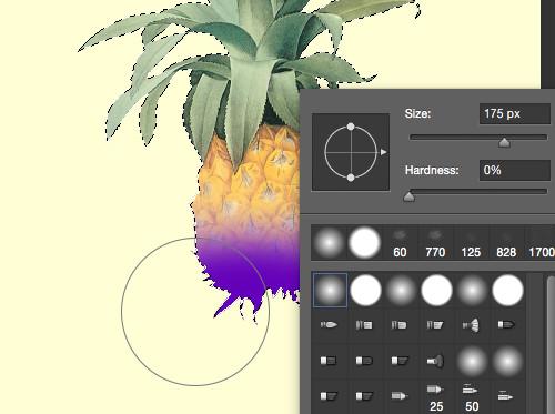 Diseño gráfico en Adobe Photoshop con un área seleccionada y la herramienta de brocha abierta.