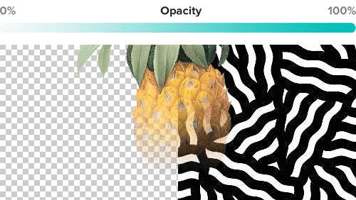 Graphic design with a semi-transparent elements on a transparent background and fully opaque pattern.