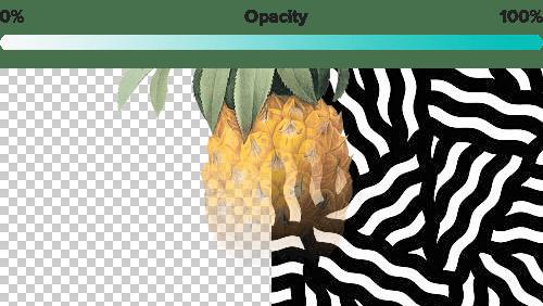Grafikdesign mit halbtransparenten Elementen auf transparentem Hintergrund und vollständig undurchsichtigem Muster.